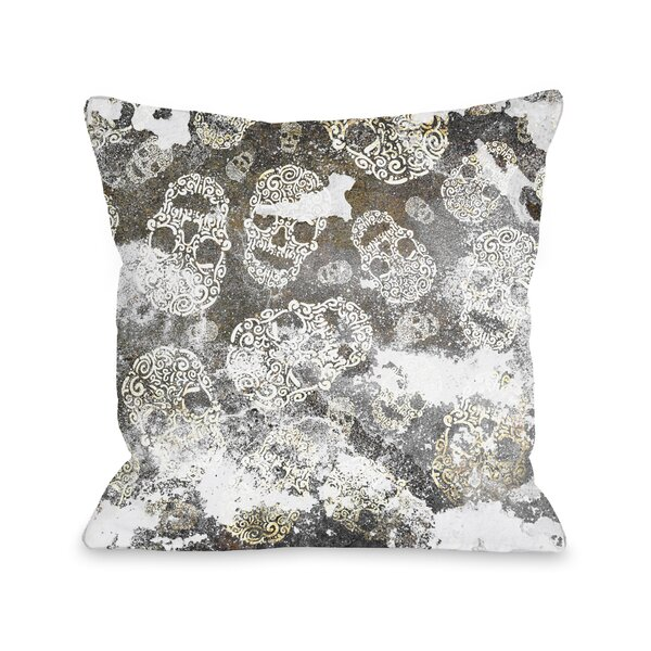 Stamped Skulls Throw Pillow by One Bella Casa