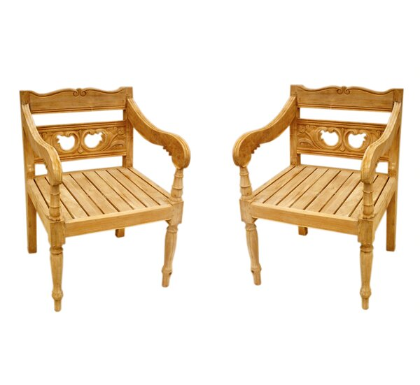 Proulx Teak Patio chair (Set of 2) by One Allium Way