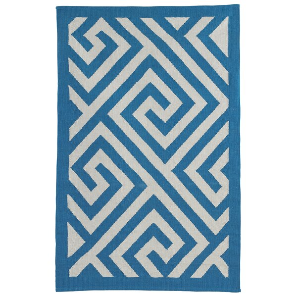Metro Broadway Hand Woven Cotton Blue/White Area Rug by Fab Habitat