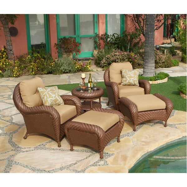 Soria 5 Piece Deep Sunbrella Seating Group with Cushions by Art Frame Direct