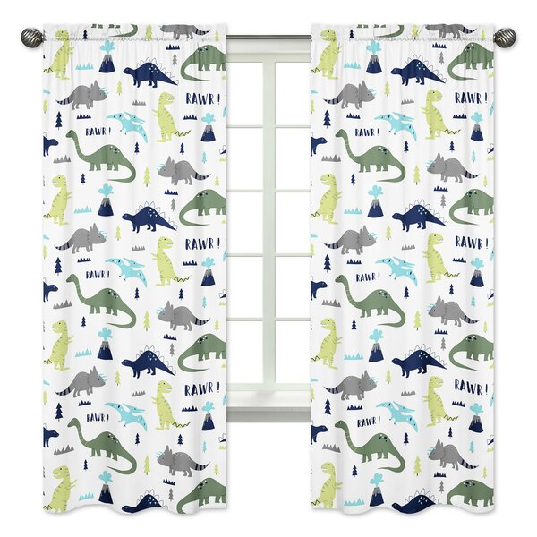 Mod Dinosaur Wildlife Semi-Opaque Rod Pocket Curtain Panels (Set of 2) by Sweet Jojo Designs