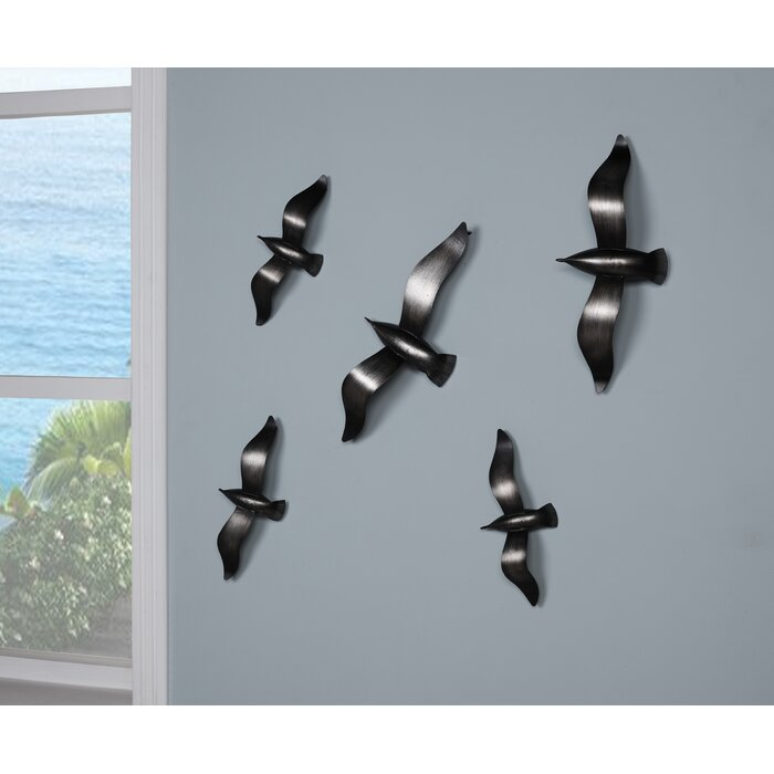 5 Piece Brushed Metal Flying Birds Wall Décor Set