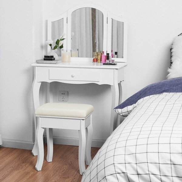 Daphine Vanity Set With Stool And Mirror By Canora Grey
