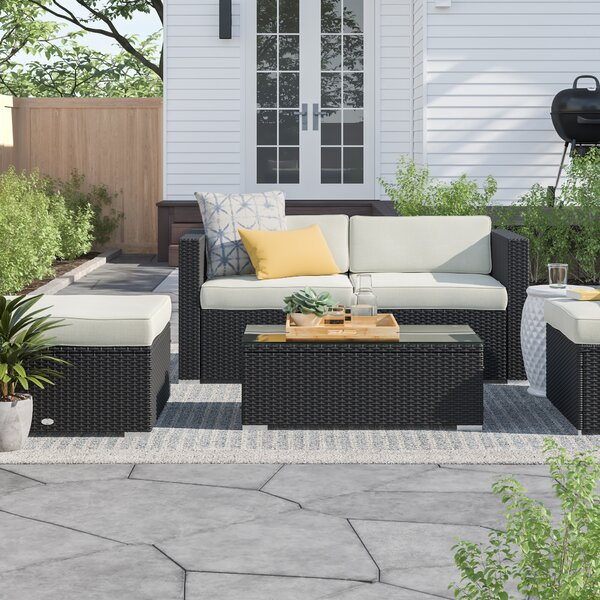 Hazen 5 Piece Rattan Sectional Seating Group With Cushions By Zipcode Design by Zipcode Design Design