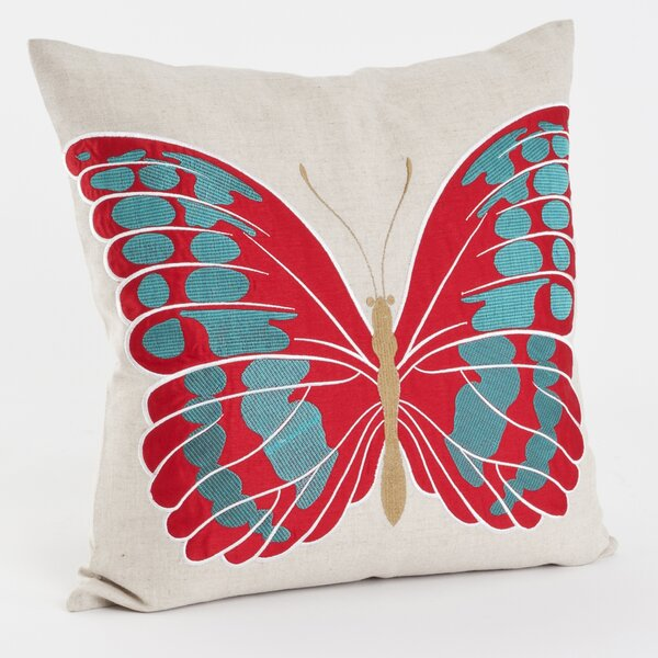 Embroidered and Appliqué Throw Pillow by Saro