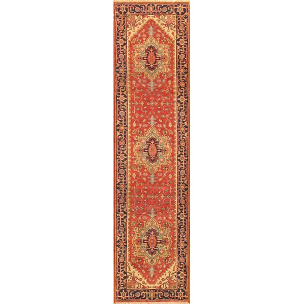 Serapi Oriental Hand-Knotted Wool Red Area Rug