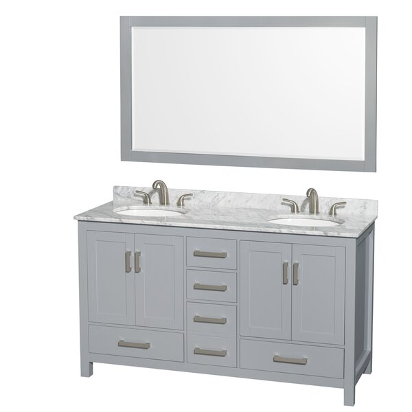 Sheffield 60 Double Gray Bathroom Vanity Set with Mirror by Wyndham Collection