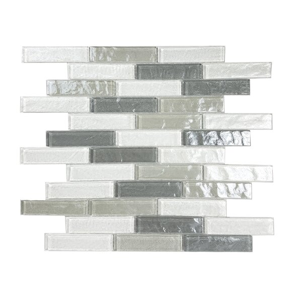 Geo 1 x 4 Glass Mosaic Tile in Blue Gray by Abolos
