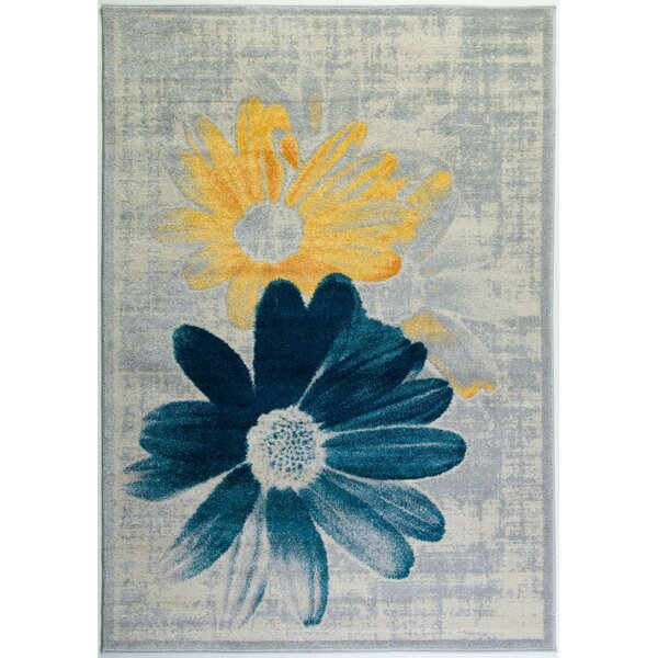 Criddle Flower Teal/Yellow Area Rug by Ebern Designs