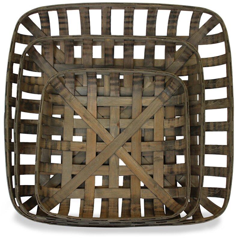 Tobacco Wood 3 Piece Basket Set