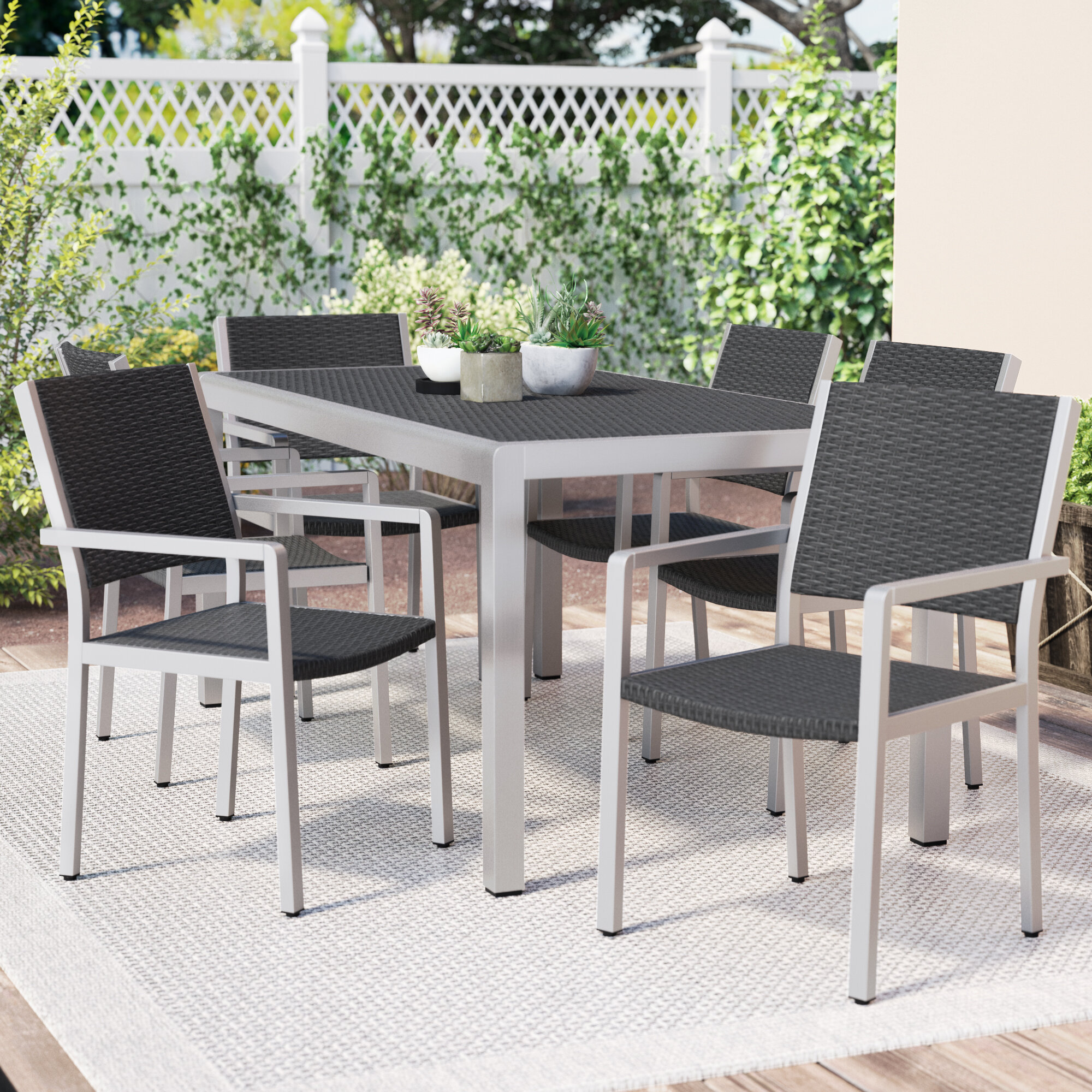 Wade Logan Durbin 7 Piece Aluminum Dining Set U0026 Reviews | Wayfair