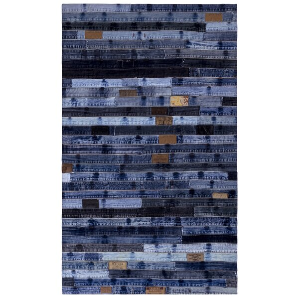 Latour Jeans Denim Handmade Blue Area Rug by 17 Stories