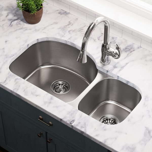 Stainless Steel 32 x 18 Double Basin Undermount Kitchen Sink by MR Direct