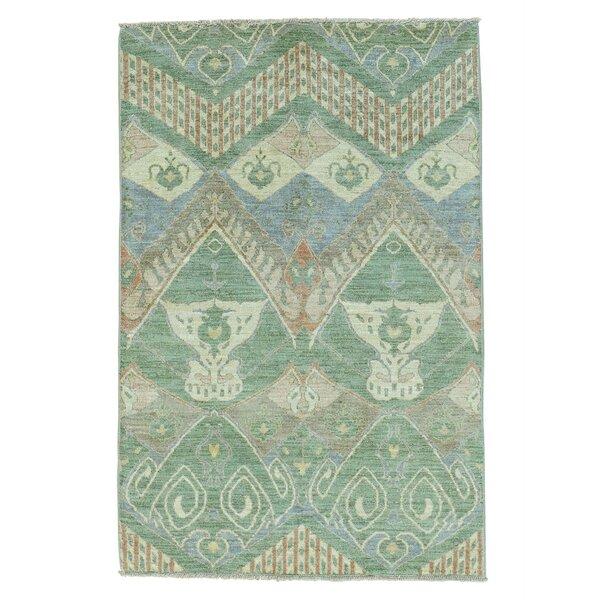 One-of-a-Kind Aldeline Ikat Uzbek Oriental Hand-Knotted Green Area Rug by Bloomsbury Market