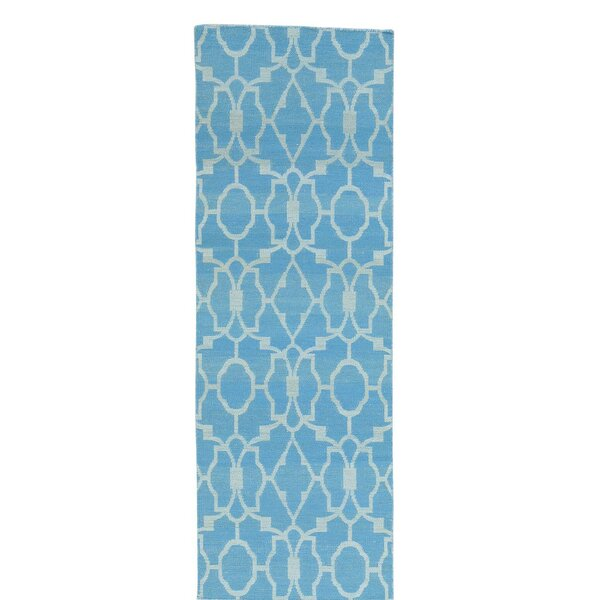 Flat Weave Reversible Kilim Hand-Knotted Sky Blue Area Rug by Bungalow Rose