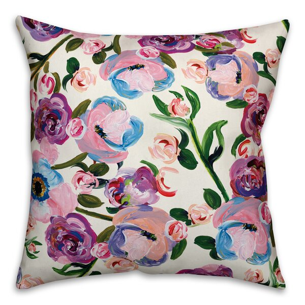 Donata Lavender Florals Outdoor Throw Pillow by House of Hampton