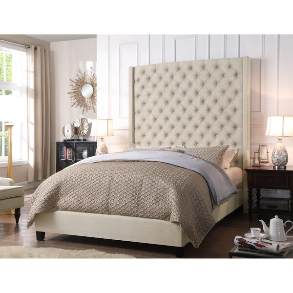 Antonio Wingback Tufted High Headboard Upholstered Standard Bed by iNSTANT HOME