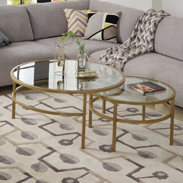 Tara Crest 2 Piece Coffee Table Set (Set of 2) by Everly Quinn Everly Quinn