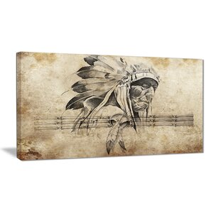 'American Indian Warrior Tattoo Sketch' Graphic Art Print on Canvas by East Urban Home