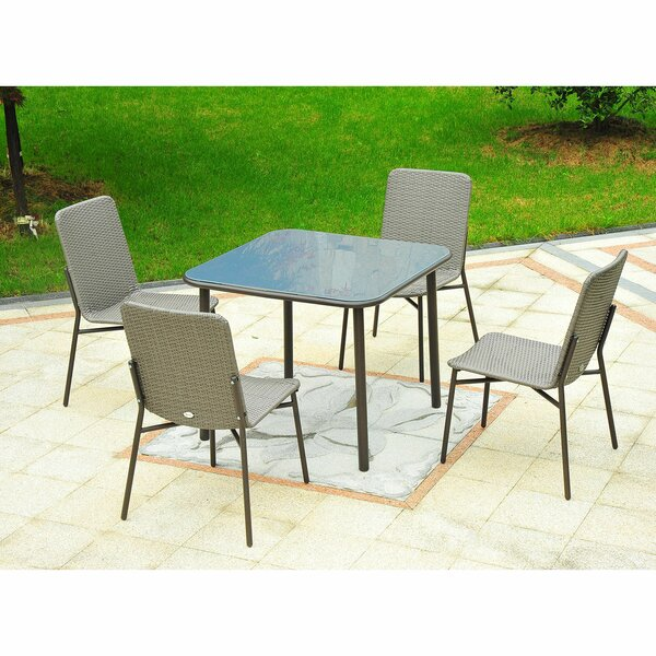 Correa Metal Rattan Wicker Outdoor Furniture 5 Piece Dining Set by Ivy Bronx