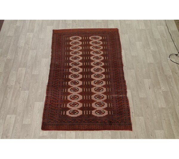 Midhurst Bokhara Pakistani Traditional Oriental Pakistan Hand-Knotted Wool Red/Burgundy Area Rug by Bloomsbury Market