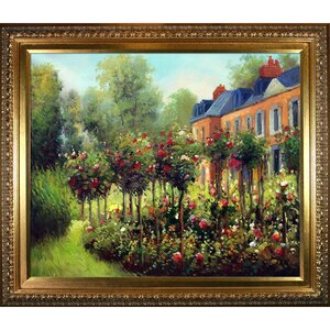 'The Rose Garden at Wargemont, 1879' by Pierre-Auguste Renoir Framed Oil Painting Print on Canvas by Tori Home