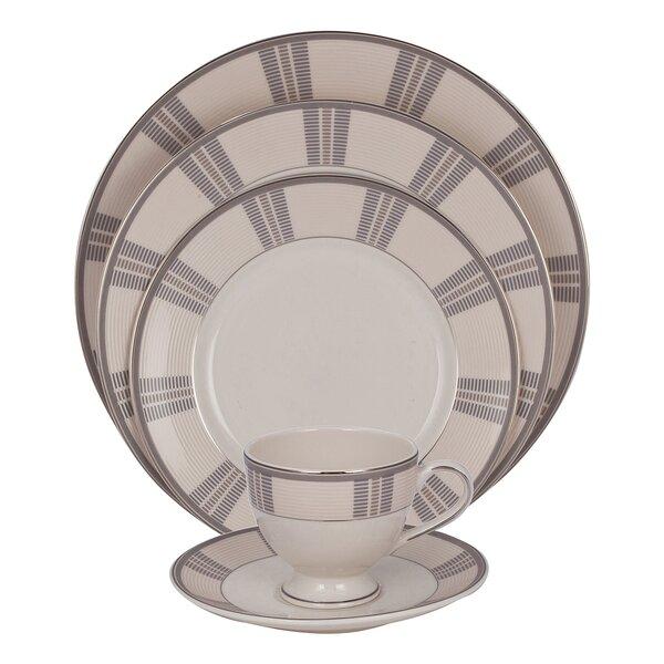 Linen 5 Piece Ivory China Place Setting, Service for 1 (Set of 4) by Shinepukur Ceramics USA, Inc.