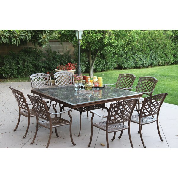 Thompson 9 Piece Powder-Coated Dining Set with Cushions by Alcott Hill
