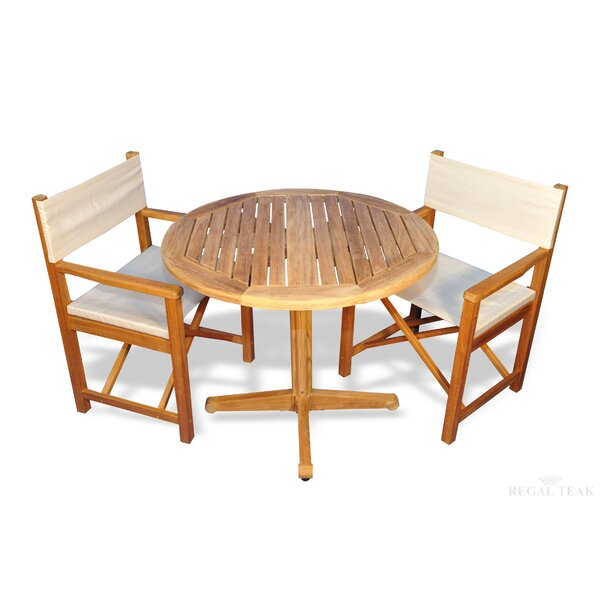 Bodalla 3 Piece Teak Sunbrella Dining Set by Bayou Breeze