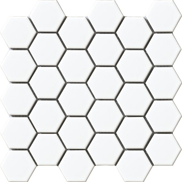 Vintage 2 x 2 Porcelain Mosaic Tile in White Hexagon by Walkon Tile