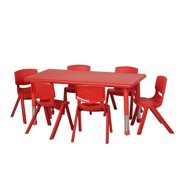 7 Piece Rectangular Activity Table & 10 Chair Set by ECR4kids