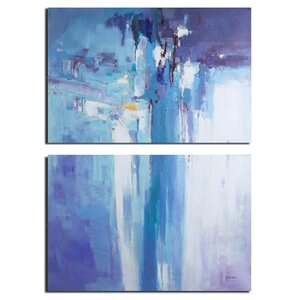 'Abstract of Waterfall' Oil Painting Print Multi-Piece Image on Canvas by Ivy Bronx