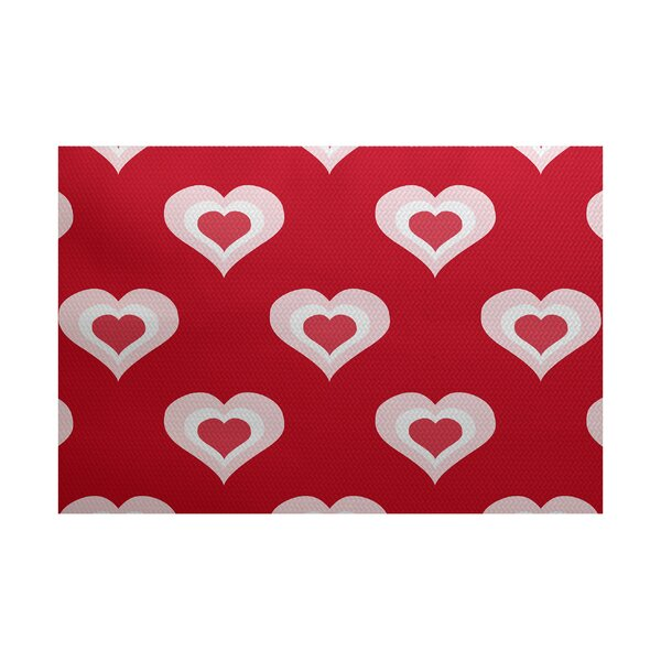 Valentine's Day Red Indoor/Outdoor Area Rug by The Holiday Aisle