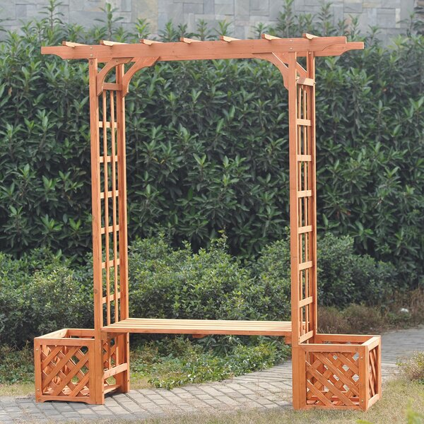Wooden Trellis Arch Wood Arbor with Bench and Planter by Sunjoy