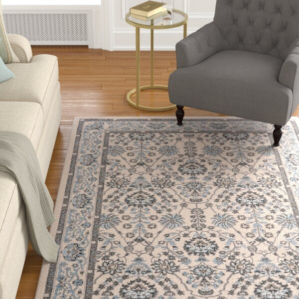 Minerva Beige/Blue Area Rug by Alcott Hill