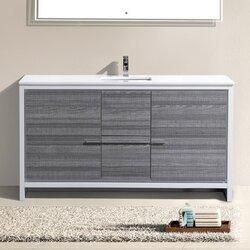 "Modern Bathroom Vanity Sets mercury row bosley 60"" single modern bathroom vanity set & reviews"