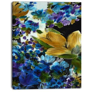 'Brown and Blue Flowers' Graphic Art Print on Canvas by East Urban Home