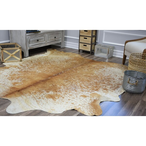 Sarah Hand-Woven Cowhide Beige/Brown Area Rug by Millwood Pines
