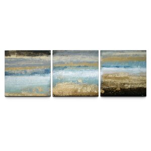 Rising Tide Textured Triptych 3 Piece Painting Print on Canvas Set by Trent Austin Design