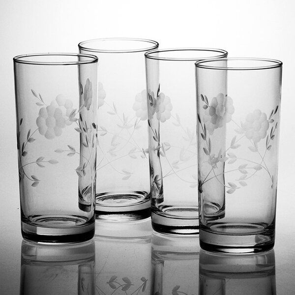 Janet Hand-Cut 15 oz. Highball Glass (Set of 4) by