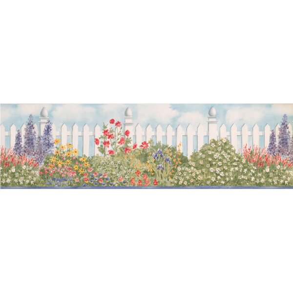 Boughton Wide Violet Flowers by Fence Retro Design Floral and Botanical Wallpaper Border by August Grove