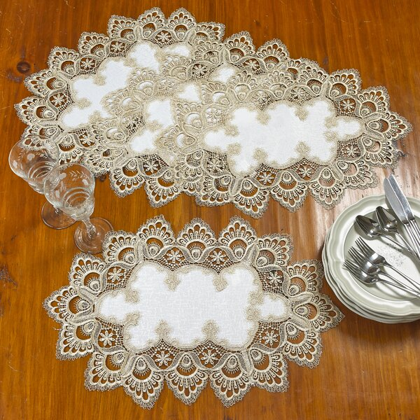 Zackary Decorative Handmade Embroidered Lace 12 Placemat (Set of 4) by Astoria Grand