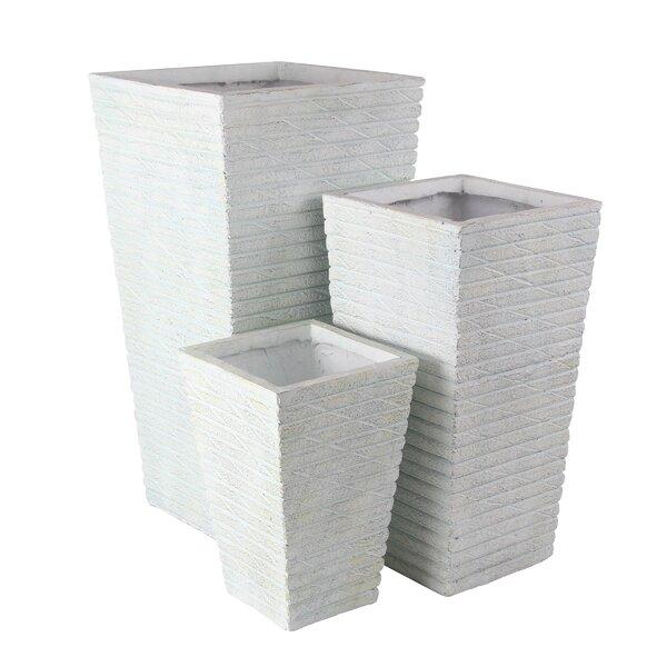 Kujawski Cylindrical 3-Piece Resin Planter Box Set by Williston Forge