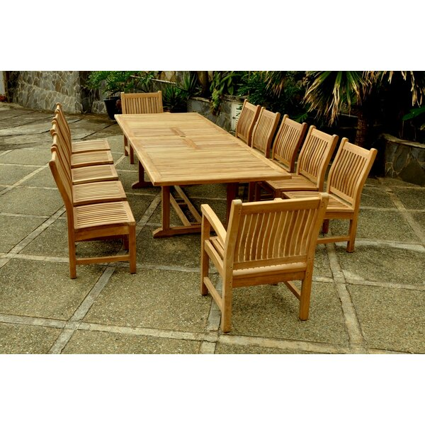 Bourg 13 Piece Teak Dining Set by Freeport Park