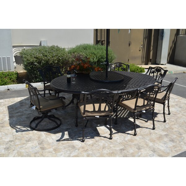 Maccharles 10 Piece Dining Set with Cushions by Bayou Breeze