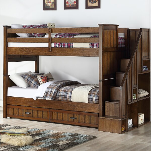 Carothers Convertible Twin Over Twin to Twin Over Full Bunk Bed with Bookcase and 2 Drawers by Harriet Bee