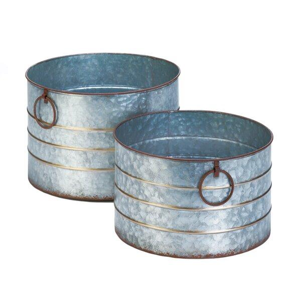 Round Galvanized 2-Piece Iron Zinc Alloy Pot Planter Set by Zingz & Thingz