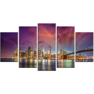 'New York City Manhattan Skyline' 5 Piece Wall Art on Wrapped Canvas Set in Red by Design Art