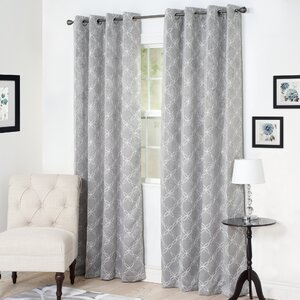 Smooth Lattice Room Darkening Geometric Blackout Grommet Single Curtain Panel