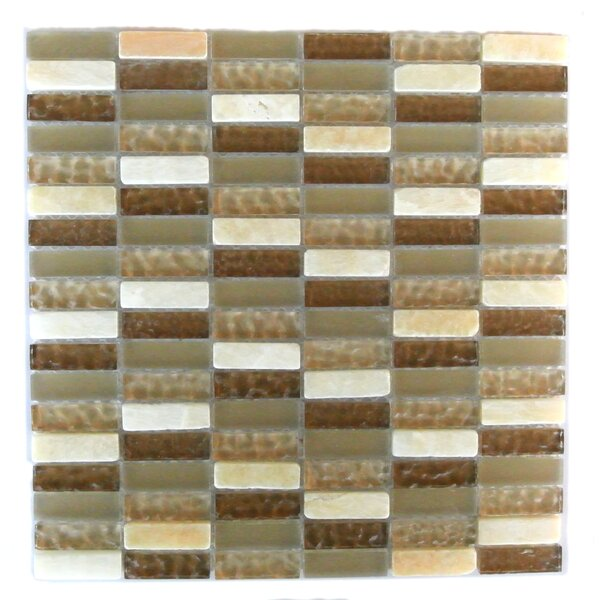 Quartz 0.63 x 2 Glass and Stone Mosaic Tile in Macadamia by Abolos
